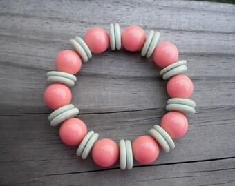 Limestone and Lucite Stretch Bracelet