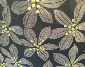 CLEARANCE SALE 50%off 1 yard  Tropical  leaf black gray green upholstery fabric