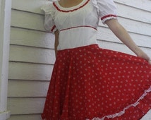 SHOP SALE Red White Country Print Dress Square Dance Hoe Down S M
