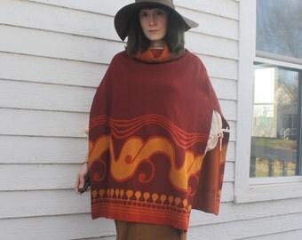 Hippie Poncho Vintage 60s 70s Rust Blanket Top 1960s 1970s