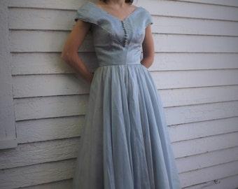 Vintage 50s Blue Gown Party Dress Bernice Tiesling Long XS Petite AS IS