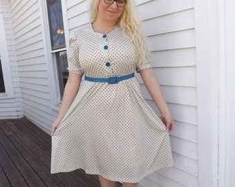 Retro Print Dress Vintage Rockabilly Blue Cream Secretary M L