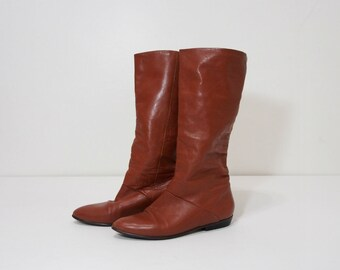 Vintage Brown Leather Tall Flat Boots Size 8 Womens