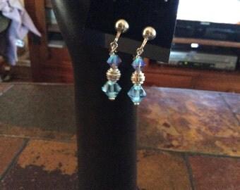 Blue Crystal Non Pierced Earrings/Bracelet