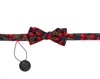 Pomp & Ceremony, Men's Bow tie, Liberty of London print Ros, Navy
