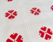 Vintage Pillow Cover Cross Stitch Red on Ivory Open Ended