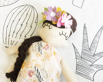 Boho Bestie Rag Doll - Florence Flowercrown - MADE TO ORDER