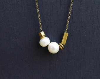 Ashley - Geometric Pearl and Brass Slide necklace // Cival Collective Jewelry  // Simple Everyday Necklace // Layering Pendant