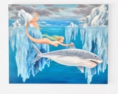 Great White Mermaid oil painting