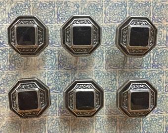 Gunmetal Concho Push Pins - Pushpins - Antique Silver Button Thumbtacks - Decorative Cork Board Pin - Decorative Thumbtack - B144 - Set of 6