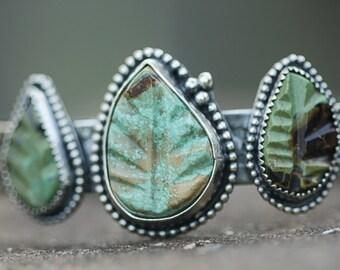 Three Stone Turquoise Bracelet, Carved Leaf Bracelet, Stamped Southwestern Silver Bracelet, Boho Jewelry,