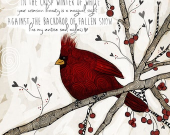 Snow Cardinal / original illustration ART Print SIGNED / 8 x 10 / NEW