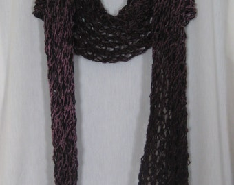 Purple and Black Boucle fishnet scarf