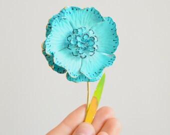 Vintage 1950s HUGE enamel flower pin