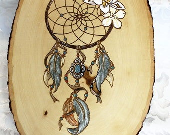 Wood Burned Wood Slice - Hand Painted Dream Catcher
