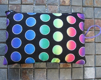 rainbow dot print padded makeup jewelry bag