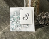 Snow Flake  Table Number Tents - for Events, Weddings, Parties, Showers, Graduations. Blue Winter Wedding