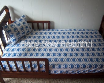 Pillowcase and Fitted Sheet -Toddler Bedding or Bumperless Crib Bedding -  You Design