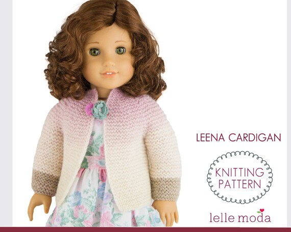 Knitting Pattern Doll Cardigan : Doll Clothes Knitting Pattern Cardigan Pattern for 18 inch
