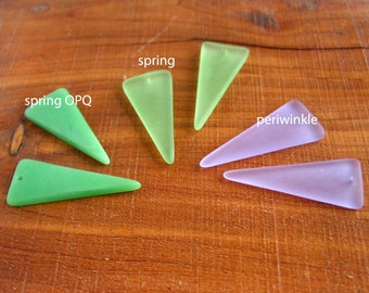 2 / 4 pcs 36mm Green - Opaque - Lavender earring size triangle pendant sea beach glass beads matte frosted recycled - PICK color / quantity