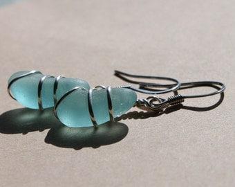 Genuine Sea Glass Earrings - Vintage Found Aqua Blue Sea Glass Earrings Wire Wrapped