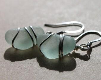 Genuine Sea Glass Earrings - Vintage Sea Foam Blue Found Sea Glass Earrings Wire Wrapped