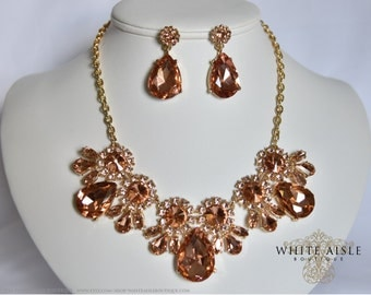 Peach Bridal Statement Necklace Set, Crystal Wedding Jewelry Set, Vintage Inspired Necklace, Rhinestone Necklace, Bridal Necklace