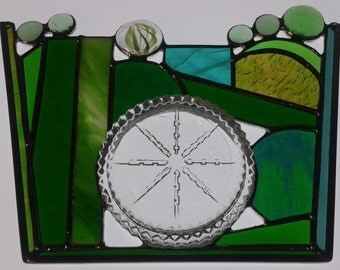 Stained Glass Panel, Greens, Touch of Blue, Glass Nuggets, 3-D, Privacy Panel