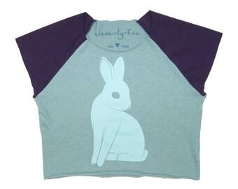 Bunny | Organic Jersey Cotton | Kids Cap Sleeve Tee | Toddler Short Sleeve Shirt | Babies Natural Cotton Shirt | Screenprinted | Hipster