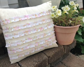 QUILTED RUFFLED PILLOWCOVER, Shabby Chic, Pink, Pleated Ruffles, Rag Ruffles, Bed Pillow Cover, Bedroom Decor, Upcycled