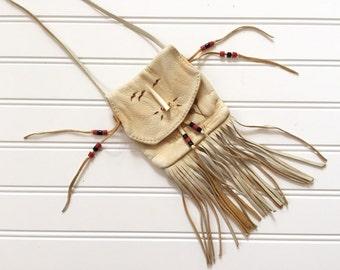 Native American Leather Bag - Tooled Leather - Beaded Bag - Native Canadian Purse - Crossbody Bag - Shoulder Bag