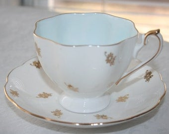 Vintage Queen Anne Fine Bone China England Tea Cup and Saucer White Gold