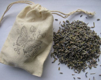 25 LAVENDER FILLED- Butterfly - stamped muslin drawstring bags