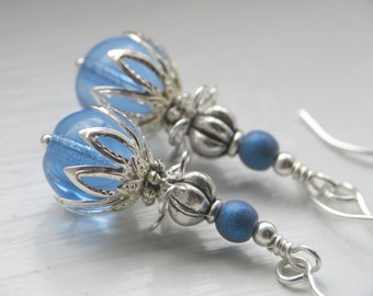 Royal Raindrops - Ornate Blue and Silver Earrings