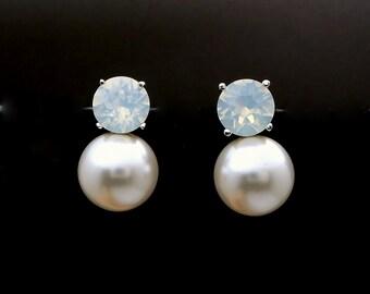 Bridal earrings bridesmaid gift wedding jewelry swarovski round 12mm white or cream pearl on swarovski white opal round post stud earrings