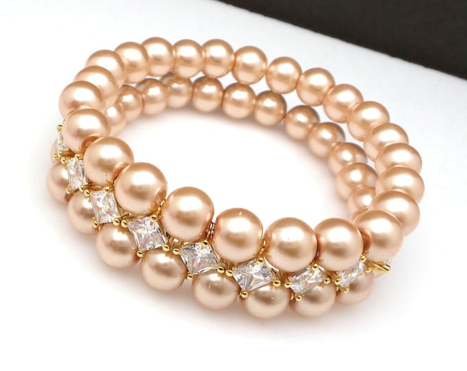 8mm double strand champagne round crystal glass pearl bracelet wedding jewelry bridal bracelet christmas gold plated Marquise Cubic Zirconia