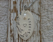 Vintage Spoon Bowl metal Hand Stamped Blessed  Tag Ornament Necklace or key chain