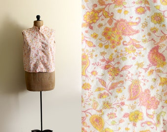 vintage tank top 1950s womens clothing pink peach paisley print size medium m
