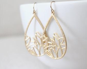 Flower Teardrop Earrings - Garden - Gold or Silver - SALE