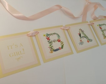 "Baby Shower Banner Decoration Vintage Floral and Vine Design in a Luxury 3 Layered Banner The Wording is ""Baby"" for Baby Girl Shower"