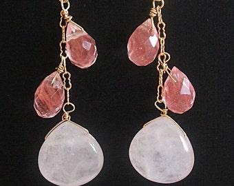 Quartz Gold Earrings, Goldfilled Earrings, Rose Quartz Drop earrings, Cherry Quartz Dangle Earrings, for Christmas, her, mom, sister