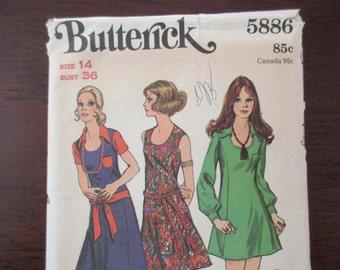 60s 70s Butterick Pattern 5886 - uncut, unused, size 14, flare dress, mini dress, U neckline