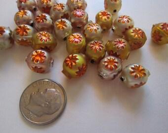 26 miniature Czech glass beads - star indent beads - shades of gold - 8mm x 10mm
