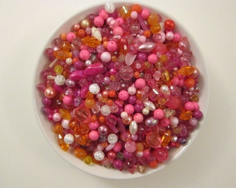 vintage bead mix - PINK and ORANGE - 4 cups, vintage beads -vintage plastic beads, salvaged beads