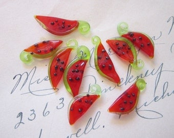 9 glass WATERMELON charms - 7/8 to 1 inch