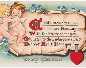 Unsigned Grace Wiederseim - Antique Postcard - Raphael Tuck & Sons - Valentines, Valentine Postcards, Grace Wiederseim, Cupids, Ephemera