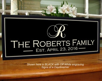Carved Personalized Family Name Sign with Established Date 8 x 20