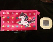 Super cute polka dot makeup bag with unicorn embroidered patch,  ready to ship