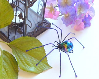 Large Hanging Purple Marble Spider with Iridescent Coloring Five Inches Unique Gift for Nature Lovers Halloween Decoration