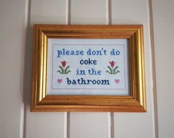 Don't do coke in the bathroom cross stitch sampler needlepoint